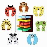 Protector Puertas Seguridad Bebé Tapones, Seguridad Cartoon Animal Tope Puerta, Diseños de Animales, Protector de Dedo pellizco niños para bebé Niños Segura