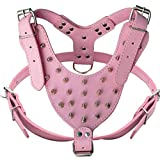 HOOTMALL PU Leather Spiked Studded Harness Large 26'-34' Chest 28 Spikes Pit Bull (Pink)