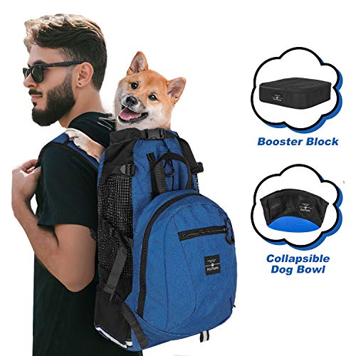 PROPLUMS Dog Carrier Backpack for Small and Medium Dogs Pet Sport Sack Air for Walking Hiking and Traveling with Detachable Storage Bag Free Booster Block and Dog Bowls (L, Navy Blue)