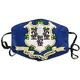 Moonlight Flag of Connecticut Bedruckte Maske für Männer und Frauen Staubbeständige atmungsaktive Polyestermaske