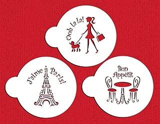 Designer Stencils C882 I Love Paris Cookie Stencil Set, Beige/Semi-Transparent