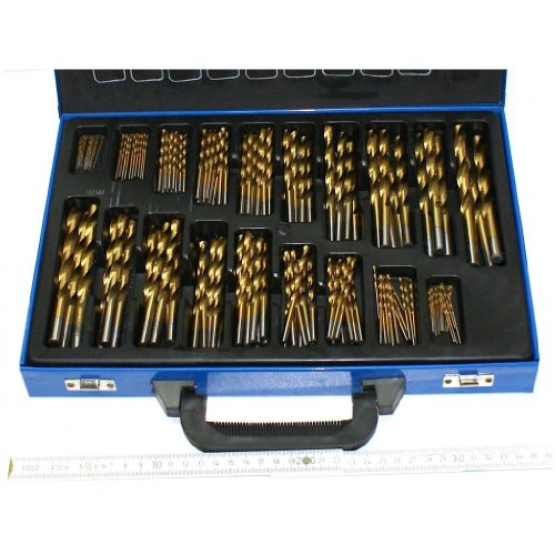 150 Stück HSS Bohrer Titan beschichtet. Sortiment Stahlbohrer Metallbohrer gute Qualität. Durchmesser 1 bis 10 mm jeweils um 0,5 mm steigend, im Koffer. Für Eisen, Stahl, NE-Metalle, Holz, Kunststoff