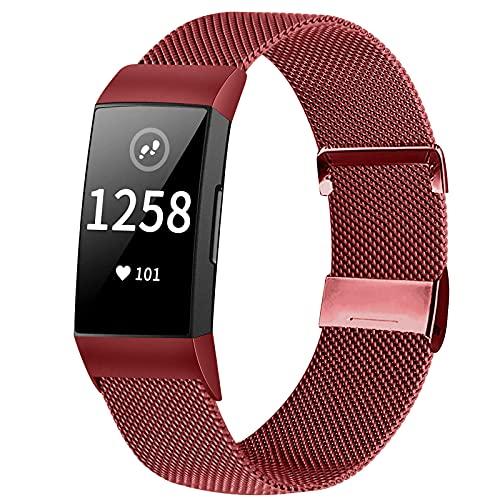 Runostrich Bracelet de montre en métal - Compatible avec Fitbit Charge 4 / Charge 3 - En acier inoxydable - Magnétique - Pour le sport - Pour femme,