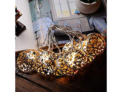 LED String Lights Fairy Bedroom 5.5 ft 10 LEDs Copper Wire Timer Battery Operated Light for Thanksgiving Decoration Halloween Christmas Birthday Gift Indoor Parties Home Warm White (Openwork Roll)