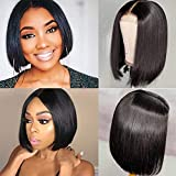 Allove Short Bob Wigs Straight Human Hair Wigs for Black Women 8inch 10a 2x6 Deep Part Lace Front Wigs Human Hair Bob Wigs Pre Plucked with Baby Hair Natural Black 150% Density Lace Closure Wig