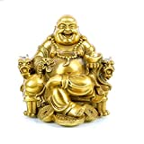 Fengshui Lucky Buddha Statue,Laughing Buddha on Emperor`s Chair Statues and Sculptures Home Desk Decoration for Good Luck & Happiness (3' inches H)