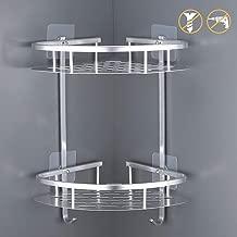 Kes No Drill Bathroom Corner Shelf 2-Tier Aluminum Shower Caddy Organizer Self Adhesive Suction Cup Drill Free Triangle Shelf Anodized, A4022BDF