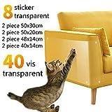Pidsen 8 Stickers Transparent Protecteurs de Meubles Contre Les Chats Griffures Auto-adhésives Ensemble avec Epingle Protection Canapé Table