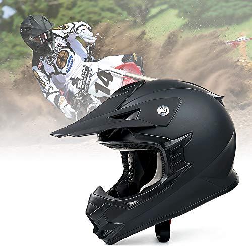 Unisex-Adult Off-Road Helmet, Orthrus Motocross ATV Dirt Bike Helmet for Men Women, DOT Approved (Black, XL)