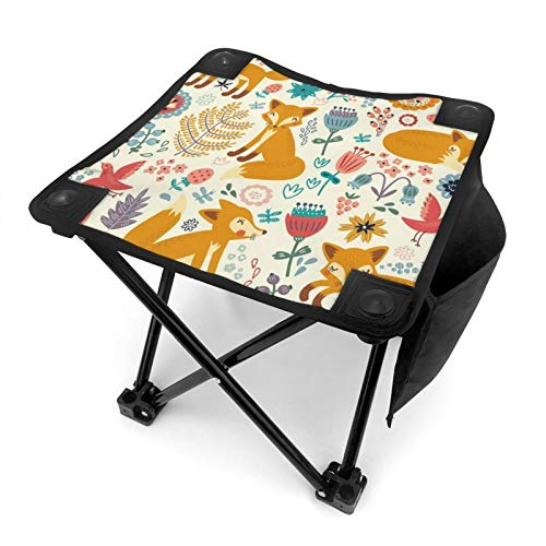 Zteeg Folding Doublenatural Wildlife Composition Foxes Ornate Flowers Flying Birds Kids Nursery Sided Printing Chair for Outdoor Camping is Light, Portable and Durable