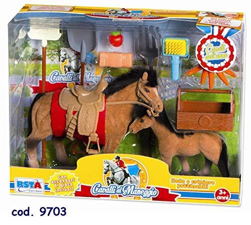 RSTA Maneggio Set 2 Playset Cavalli Mini Pony Gioco Femmina Bimba 946, Multicolore, 8004817097033