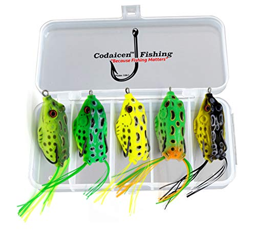 Bass Topwater Frog Lures Kit - Soft Plastic Fishing Lures Bait 5 Pc - Bass and Pike - Tackle Box for Your Bass Fishing Frogs - Freshwater Fishing Lures