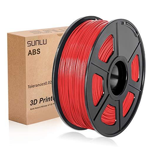 SUNLU 3D Printer Filament ABS , 1.75mm ABS 3D Printer Filament, 3D Printing Filament ABS for 3D Printer, 1kg, Red