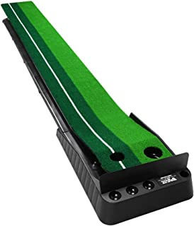 JHHXW Golf Putting Mats, Golf Practice Mat, with Track Automatic Ball Return Device and Bezel, ABS Eco-friendly Plastic, I...