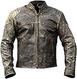 Giacca da motociclista vintage da uomo, in vera pelle, stile vintage, stile motociclista Giacca in pelle antica D2 nera anticata XL