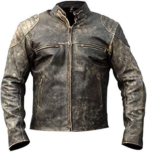 Herren Vintage Retro Biker Motorrad Stilvolle Echtleder Jacke | Motorrad Distressed Cafe Racer Lederjacke Gr. S, Antik-Lederjacke, D2, Schwarz