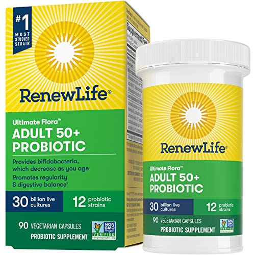 Renew Life Adult Probiotic - Ultimate Flora Adult 50+ Probiotic Supplement - Shelf Stable, Gluten, Dairy & Soy Free - 30 Billion CFU - 90 Vegetarian Capsules (packaging may vary)