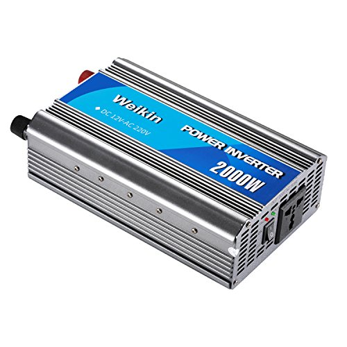 weikin Spannungswandler 2000W 12V DC 220V 230V 240V Ausgang, Power Inverter Converter, mit Universal Steckdosen, für Camping oder Auto Aus der Stromversorgung