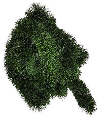 Ilkadim 1 Stück Tannengirlande 5 oder 10m lang, Dekogirlande 8-10cm, Girlande Weihnachten (5 Meter)