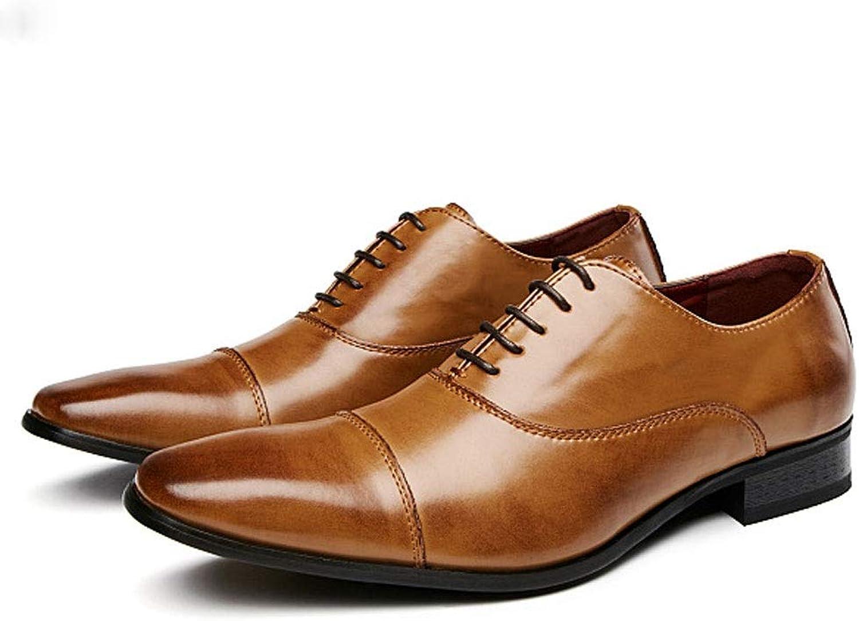 WWJDXZ Herren Lederschuhe Smart Casual Schuhe Business Derby Spitz Schnürsenkel Oxford Schuhe Lssige Herrenschuhe