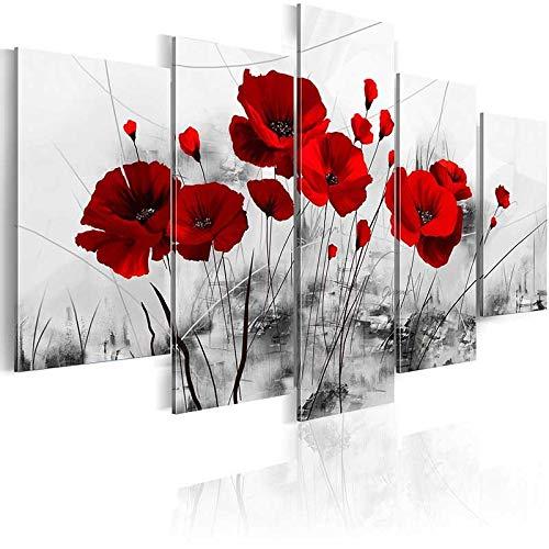 MAOYYM1 Rojo Oscuro Y Azul Y Púrpura Amapolas Flores Impresiones Cartel Lienzo De Pintura 5 Paneles Moderno Negro Arte De La Pared para El Dormitorio Decoración para El Hogar Sin Marco
