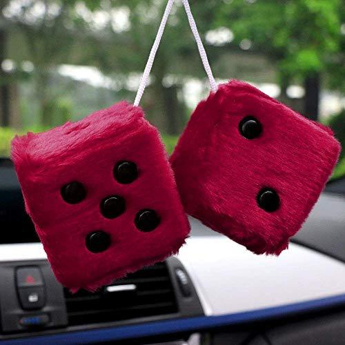 Car Pendant Colorful Plush Dice Craps Jdm Automobiles Rear View Mirror Charms Hanging Suspension Ornaments Desk Home Decoration