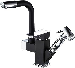 Auralum - Grifo Negro Extensible para Cocina en Latón Dos Salidas del Agua 360 Giratorio Funcional Mezclador