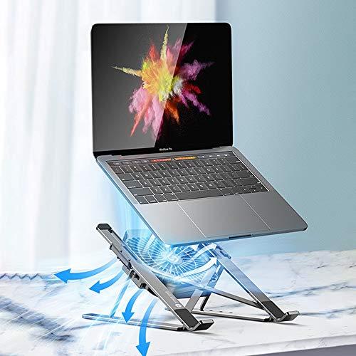 YOOXI Soporte para ordenador portátil, ventilador inferior de refrigeración rápida, soporte para ordenador portátil ajustable en seis posiciones, compatible con portátiles/tabletas de 11 a 17 pulgadas