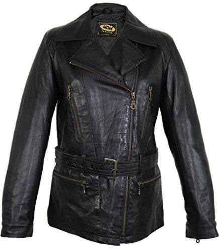 MDM Damen Motorrad Lederjacke leichtes und weiches Leder im 80 er Stil (3XL)