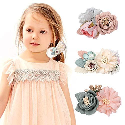 VUCDXOP Mädchen Künstliche Blume Haarschmuck Haarspangen Set Baby Haarschleife Blumenclip Künstliche kopfblume Haarclip Kinder Haarschmuck Haar Clip, 3 Stücke