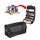 Large Capacity 4-Layer Roll-up Travel Storage Bag Foldable Toiletry Bags Organizer Cosmetic Makeup Bag Pouch with a Flexible Hanging Hook (Black)