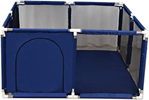 Playpen Indoor Baby And Toddler Portable Play Yard Safety Household Extra Tall 66cm Protective Fence Blue Red 128x128x66cm  Color Blue
