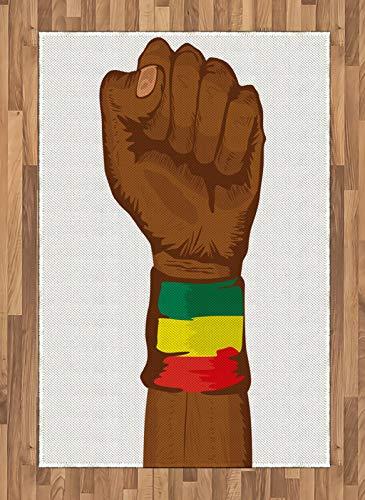 ABAKUHAUS Rasta Alfombra de Área, Etiopía Colores de la Bandera, Ideal para Sala de Estar o Comedor Resistente a Manchas, 120 x 180 cm, Amarillo Marron
