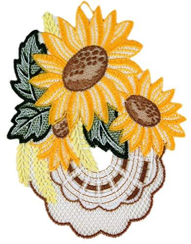 Plauener Spitze Fensterbild Sonnenblume Sunflower 15 x 21 cm + Saugnapf Spitzenbild Fensterdeko Sommer Herbst