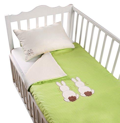 ToTs by Smartrike 280-203 Joy Parure de lit 100 % Coton satiné avec Housse de Couette 100 x 135 cm et 1 taie d'oreiller 60 x 40 cm Vert Rabbit
