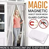 Guilty Gadgets Magnetic Door Net Screen Fastening Magic Curtain Fly Bug Insect Screen Mesh WHITE Snap Hands...