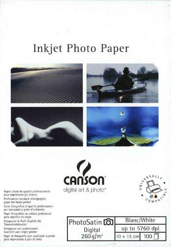 Canson Infinity Digital Photosatin - Papel fotográfico para impresora (tamaño A6, 100 hojas, mate)