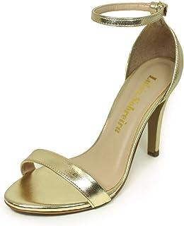 Sandália Salto Alto Fino Luiza Sobreira Couro Gold/Dourado Mod. 1374