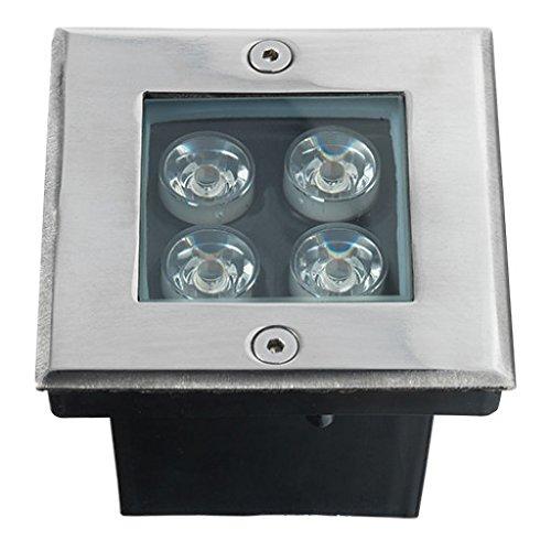 LED grondspot Cree | grondspots/vloerspots/tuinspots/buitenverlichting/tuinverlichting | 4W / RVS / vierkant / buiten / 230V / IP67 / warmwit