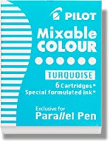 PILOT Parallel Mixable Color Ink Refills for Calligraphy Pens, Turquoise, 6-Pack (77311)