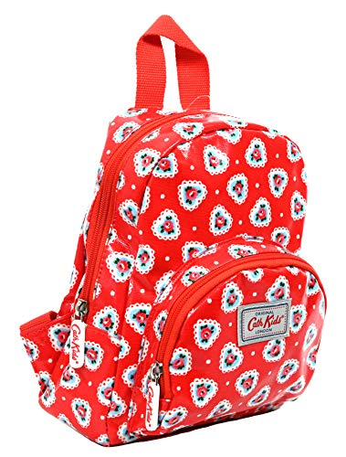 Cath Kidston Mini Rucksack Backpack Lace Hearts in Bright Red Oilcloth