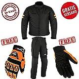 Motorradkombi Biker Motorrad Textil Kombi wasserdichte Jacke, Hose und Handschuhen (XL, Orange)