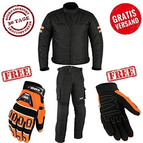 Motorradkombi Biker Motorrad Textil Kombi wasserdichte Jacke, Hose und Handschuhen (5XL, Orange)
