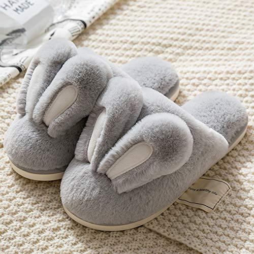 OZQP Winter Men and Women Flip Flop Cute Cartoon Rabbit Ears Half Pack Warm Slippers Couples Plush Non-Slip Home Flip Flop,B,27CM