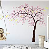 <span class='highlight'><span class='highlight'>Ziruixiong</span></span> 3Cherry Blossom Tree Wall Decal Pink Cherry Blossom Trees Wall Art Sticker Pink Leaves Blossom Tree Birds Decals 218Cm W X 170Cm H