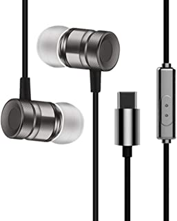 Stereo Headphones for USB Leeco Type-c Earphone with Mic Type C Earphones for Xiaomi Huawei Smartphone,Black,Italy