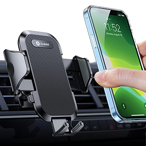 andobil Phone Holder for Car Vent, [Military Sturdy Clips Firmly Grip & Never Slip] Ultra Stable Car Vent Phone Mount, Universal Car Cell Phone Holder Compatible with iPhone 13 12 Samsung and All Cars