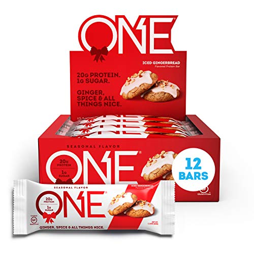 ONE Protein Bars, Iced Gingerbread, Gluten Free Protein Bars With 20g protein & Only 1g sugar,...