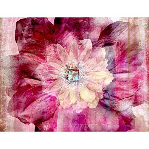 Fototapete Mandala Blume Vlies Wand Tapete Wohnzimmer Schlafzimmer Büro Flur Dekoration Wandbilder XXL Moderne Wanddeko - 100% MADE IN GERMANY - Rosa Rot Runa Tapeten 9045010a