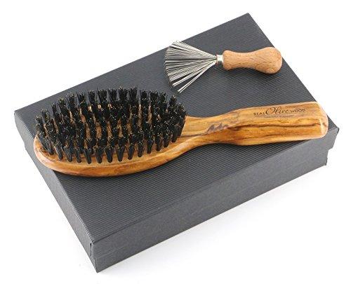 Exklusives Damen Geschenk: handliche Olivenholz Haarbürste mit Wildschweinborsten mit Bürstenreiniger, im schwarzen Geschenkkarton